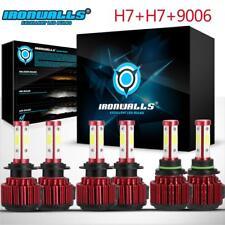 4 Sides H7+H7+9006 Combo LED Headlight Light Bulbs High Low Beam Fog White 6500K