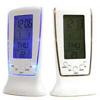 LCD Digital Clock Calendar Snooze Electronic Alarm Clocks Backlight Night Light
