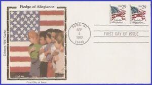 USA5 #2593 U/A COLORANO SILK FDC STR2  Pledge of Allegiance - Black 29 & USA