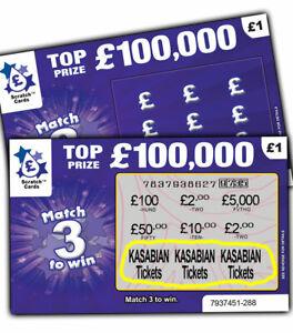 KASABIAN CONCERT Tickets Prize XMAS Gift Surprise Reveal Scratch Card Concert