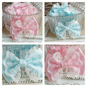 5x Satin & Lace Ribbon Bows. White Pink or Blue. Baby Shower Christening Wedding