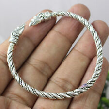 Viking Dragon Head Hand Crafted 925 Sterling Silver Bracelet Bangle