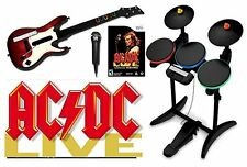 ACDC Wii-U/Wii Rock Band Value Set w/drums, guitar mic bundle kit nintendo AC/DC