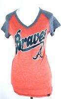 Atlanta Braves MLB Women's Medium T-Shirt ATL New Red Gray V-Neck Cotton ATL