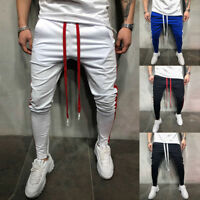 Men's Gym Slim Fit Trousers Tracksuit Skinny Joggers Sweat Track Pants Striped