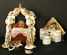OOAK Doll House Miniature Lady's Boudoir Canopied Bed and Vanity
