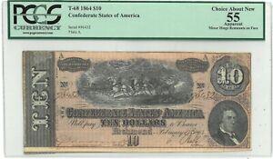 1864 Confederate States T-68 $10 PCGS 55 - 169903K
