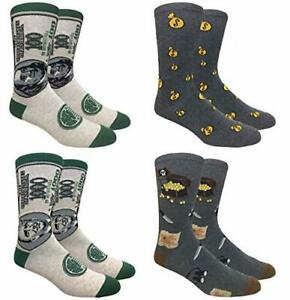 Novelty Fun Crew Print Socks for Dress or Casual (Gold Digger 4pack)
