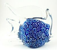 Glass Blue and White Floral Design Fish Paperweight