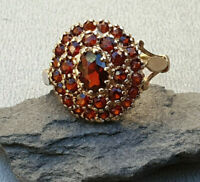 Vintage 9k 9ct Yellow Gold Garnet cluster dress Ring size N Mothers Day gift