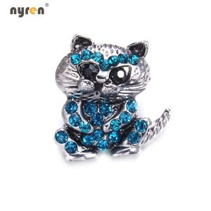 18mm Snap Button Metal Rhinestone Cat Snap Charms Multi Color Snap Jewelry 0141