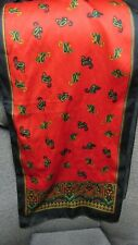 Black Paisley On Rich Red Background - Vintage Oblong Scarf - Made In Italy