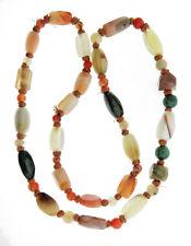 "Vintage Agate Carnelian Bloodstone Jade Bead Necklace Strand 10mm 28"""