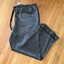 George Women's Plus Sleepwear Black White Striped Silky Feeling Pajama Pants 2X