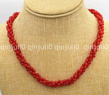 """Beautiful 3 shares 4mm red Ruby round Beads Gemstone Necklace 18"""" JN1303"""