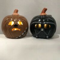 Disney Star Wars Mini Light Up Pumpkins ~ Darth Vader and Chewbacca
