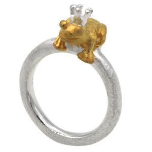 """Silber Ring """"König Frosch"""" (Sterling Silber 925 mattiert)"""