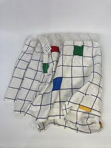 VTG JC Penney 80s 90s Twin Bed Skirt Dust Ruffle Geometric Square Grid Vaporwave