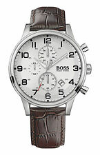 Hugo Boss HB1512447 Brown Leather Strap Classic Chronograph Mens Watch