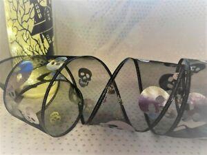 HALLOWEEN - SKULL silver on black sheer organza - Luxury Wire Edge Ribbon  *NEW*