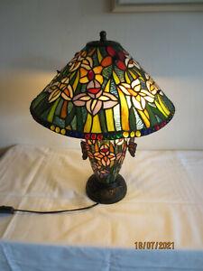 UNIKAT: Handarbeit TIFFANY-Tischlampe mit Standfuß... 3-flammig