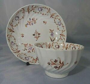 Antique Georgian 18th Century Fluted Porcelain Tea Bowl & Saucer c.1790
