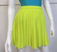 American Apparel Crepe Sunburst Pleated Skirt Slime Bright Neon Green Yellow S