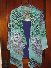 Harts Formal Flowing Top/Jacket and Camisole Set Blue Leopard/Reef Print 18