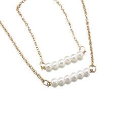 Women Gold Pearl Chain Choker Chunky Statement Bib Pendant Necklace + Bracelet