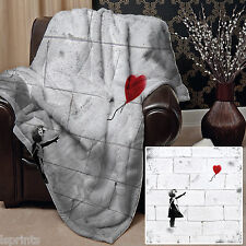BANKSY HEART BALLOON DESIGN SOFT FLEECE BLANKET COVER THROW SOFA BED LARGE CHAIR