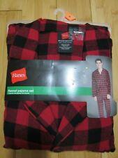 new Men's Hanes 2-pcs FLANNEL pajama set size M MEDIUM 100% cotton