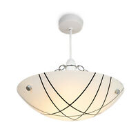 Crosbie Glass Ceiling Uplighter Pendant Shade - White/Black/Chrome