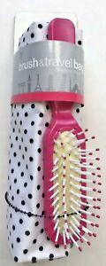 CVS Hair Brush and Travel Bag - Pink Brush with Black & White Polka Dot Bag