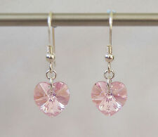 ARGENTO Sterling Orecchini W Swarovski Elements LIGHT ROSE AB Cristallo Rosa Cuore