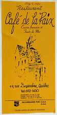 1983 Vintage Menu CAFE DE LA PAIX French Seafood Restaurant Old Quebec Canada