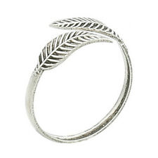 Genuine Sterling Silver Toe Ring Leaf Leaves Feather Adjustable Women Girls