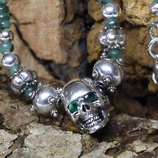 UNIKAT Smaragd Collier L:43 mit dr. Skull Anhänger 925er Silberperlen Handarbeit