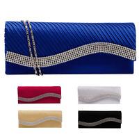 Fashion Women Satin Rhinestone Handbags Wedding Clutch Purse Evening Party Bag