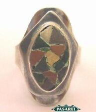 Vintage Sterling Silver Mosaic Ring Israel 1960s