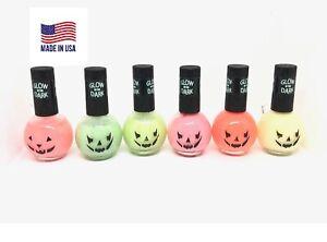 Halloween Pumpkin Glow in The Dark Nail Polish Enamel MADE IN USA 6 Colors 15mL