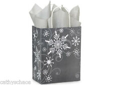 7 Swirling Snowflakes Grey Silver Christmas Holiday Shopping Gift Bags Cub Size