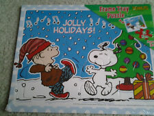 SNOOPY & RERUN JOLLY HOLIDAYS DANCING IN SNOW CHRISTMAS TRAY FRAME PUZZLE  mint!