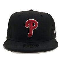New Era Philadelphia Phillies Hat Fitted Cap Size 7 3/4 59Fifty 5950 Red Black