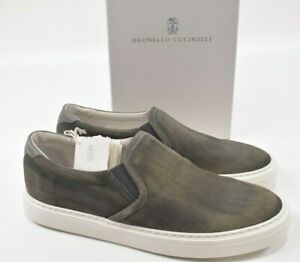 Brunello Cucinelli NWB Slip On Sneakers Size 44 11 US In Green Suede Shoes