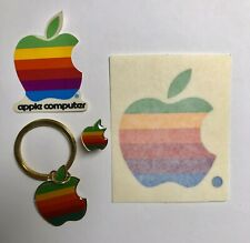 Vintage Apple Macintosh Rainbow Multi-Color Logo Key Chain Lapel Pin Stickers
