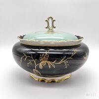 Vintage Reichenbach Porzellan Bonboniere, Deckeldose Blumendekor Kobalt #A14