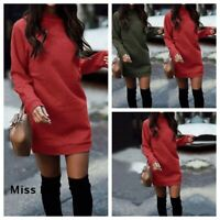 Womens Pullover Baggy Tops Slim Ladies Mini Dress Sweater UK Jumper Long Sleeve