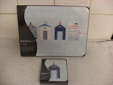 Set of 6 Place Mats and Matching Coasters IMPRESS Beach Huts