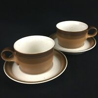 Set of 2 VTG Cups and Saucers Mikasa Potters Art BUCKSKIN Brown Ben Seibel Japan