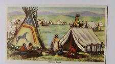 1949 Postcard Indian Camp, Artist Andrew Standing Soldier by C E Engle
